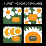 4 Greeting Cards. Colorful greeting card set: nature, flowers Stock Photos