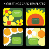 4 Greeting Cards. Colorful greeting card set: nature, flowers Stock Images