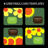 4 Greeting Cards. Colorful greeting card set: nature, flowers Royalty Free Stock Photography