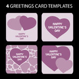 4 Greeting Cards: Valentine's Day. Purple Valentine's Day greeting card set Stock Photos