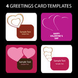4 Greeting Cards: Valentine's Day. Valentine's Day greeting card set Stock Image
