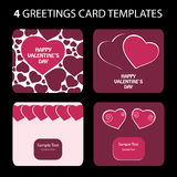 4 Greeting Cards: Valentine's Day. Valentine's Day greeting card set Stock Images