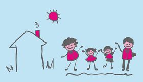 4 group people. Family and home, sun, nature vector illustration