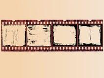 4 Grunge Film Cells Stock Photo