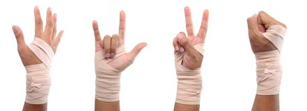 4 hand sign with elastic bandage Stock Photos