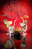 4 happy umbrella drinks on red. Martini, Margarita, Fizz and Colada Stock Images
