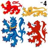4 heraldiska lions vol Arkivfoto