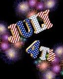 4 het vuurwerk van juli met 3D teksten Royalty-vrije Stock Foto