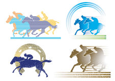 4 horse race characters Royalty Free Stock Photos