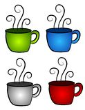 4 Hot Coffee or Tea Cups. A collection of 4 hot coffee or tea cups with steam swirling - green, blue, red and white Stock Photos