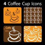 4 icone della tazza di caffè Fotografia Stock Libera da Diritti