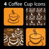 4 icone della tazza di caffè Fotografie Stock Libere da Diritti