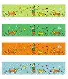 4 illustrazioni dei cani di stagioni Fotografia Stock