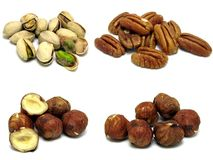 4 images of nuts Royalty Free Stock Images