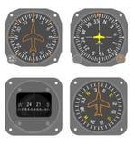 4 inställda flygplaninstrument Arkivfoton