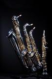 4 inställda saxofoner Royaltyfri Foto
