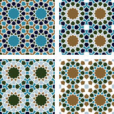 4 Islamic Star Patterns Brown, Blue, Green, White Stock Photos