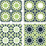4 Islamic Star Patterns Green, Blue, White Royalty Free Stock Photo