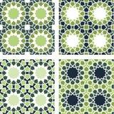 4 Islamic Star Patterns Green, Blue, White Royalty Free Stock Photo