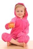 4 jaar oud meisjes met nectarin Royalty-vrije Stock Afbeeldingen