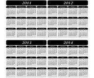 4 Jahr-Kalender auf Schwarzem Stockbild