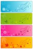 4 Jahreszeiten: Winter, Frühling, Sommer, Herbst vektor abbildung