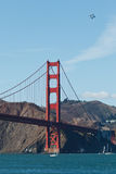 4 jets Fly over Golden Gate Bridge Royalty Free Stock Photography