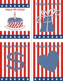 4 july postcards Royalty Free Stock Photography