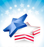 4 july star box. With stripe and stars Vector Illustration