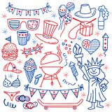 4 july. USA independence day icons isolated on white background.Hand draw traditional United States symbols . Doodle Stock Photography