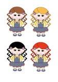 4 kędzierzawych ślicznych drelichu sukni dziewczyny włosianych małych cienia Royalty Ilustracja