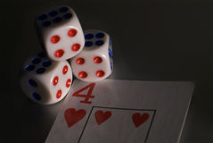 4 karta dices Fotografia Stock