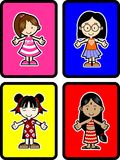 4 Kids. Four different girls with colorful background Stock Images