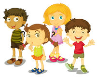 4 kids. Illustration of 4 friends isolated Stock Photo