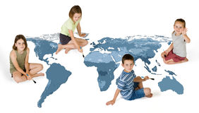 4 kids painting Royalty Free Stock Photo