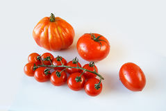 4 kinds of tomatoes. Composition of 4 kinds of tomatoes on white background stock photo