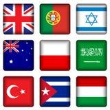 4 knappar flag den nationella fyrkanten Royaltyfria Bilder