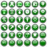 4 knappar green rund rengöringsduk Arkivbilder