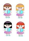 4 koczka ślicznych kwiecistych dziewczyny włosianych małych cienia omijają Zdjęcia Stock