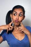 4 komiczna wyrażeniowa twarzowa kobieta Fotografia Royalty Free