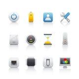 4 komputerów equipament ikony set Zdjęcia Royalty Free