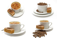 4 koppen van koffie Cappachino met de Cake van de Koffie Royalty-vrije Stock Foto