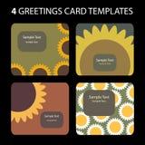 4 kort som greeting royaltyfri illustrationer