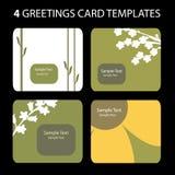 4 kort som greeting stock illustrationer
