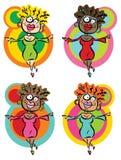 4 krazee dancing babes. Cartoon illustration of women with different skin tones Stock Photo