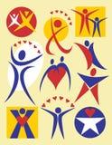 4 logo pobierania ludzi Zdjęcia Royalty Free