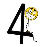 4 lyckliga nummer för alfabet fyra Royaltyfria Foton