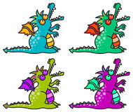 4 magical dragons Stock Images