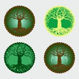 4 Magical Tree Of Life Medallions Stock Image