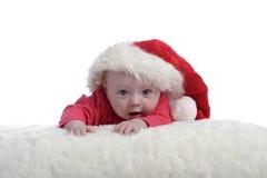 4 meses del bebé con el sombrero de la Navidad Foto de archivo libre de regalías